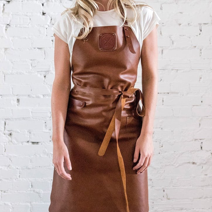 Leather Apron, Fitted, Cognac