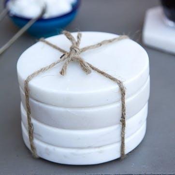 Round Marble Coasters, Set of 4, White