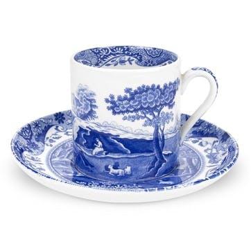 Blue Italian Coffee Cups & Saucers, Set of 4