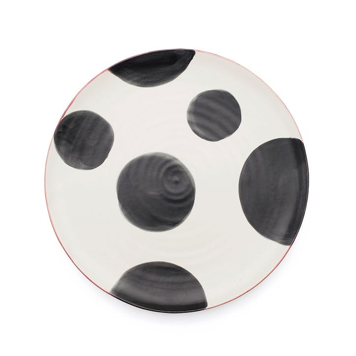 Spots Dinner Plate, Set of 4, Charcoal