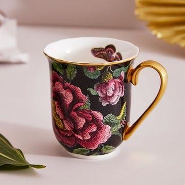 Mug Black, Floral