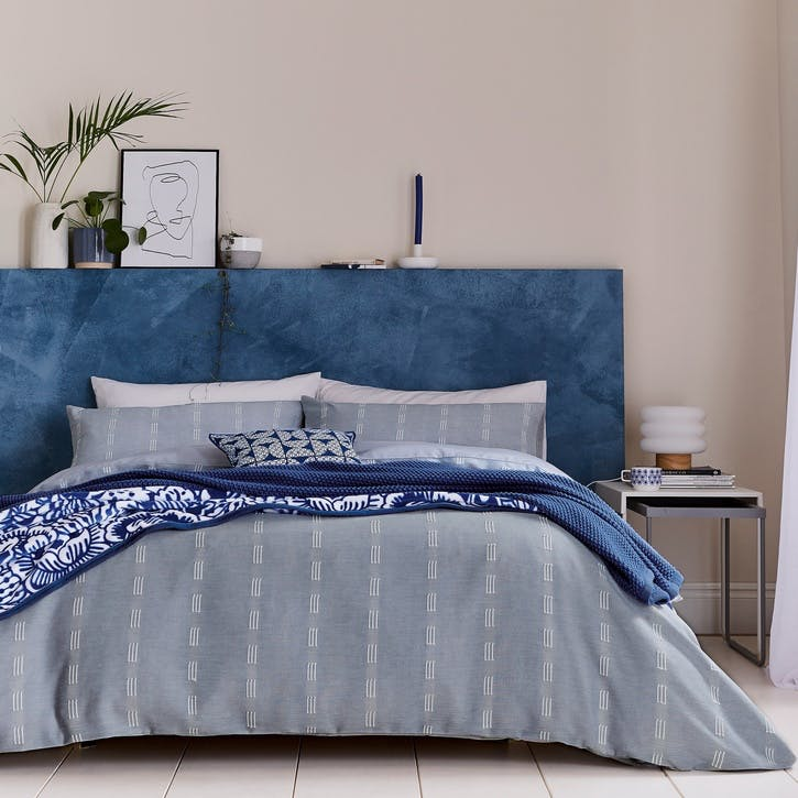 Chambray Double Bedding Set, Soft Blue