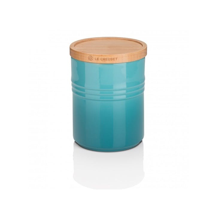 Stoneware Medium Storage Jar with Wooden Lid, Teal