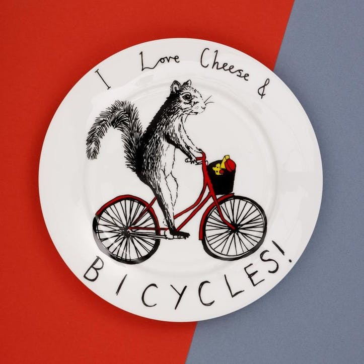 'I Love Cheese & Bicycles!' Side Plate