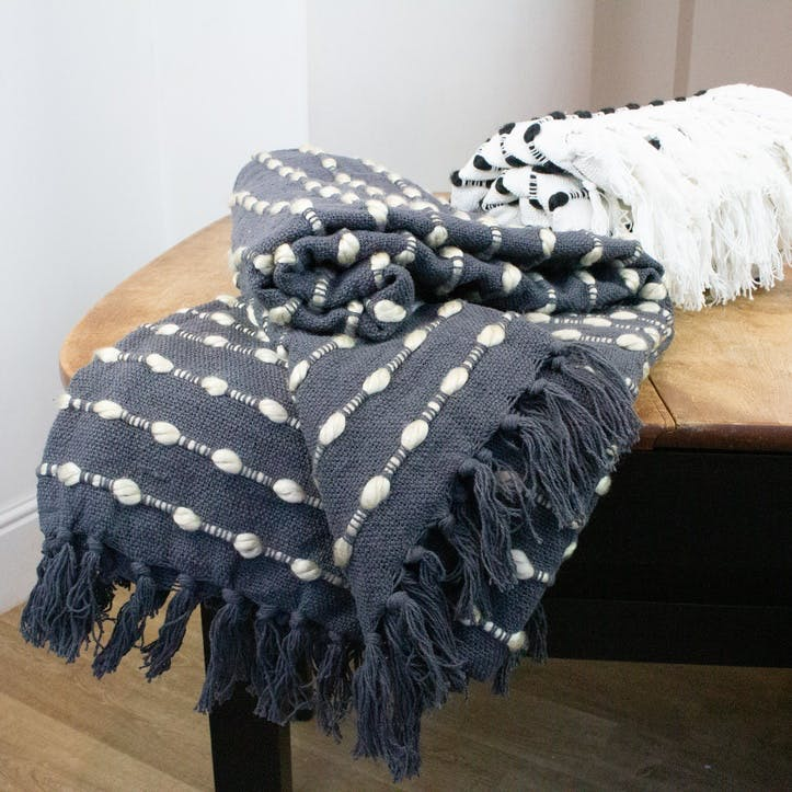 Two Tone Bobble Throw, Charcoal