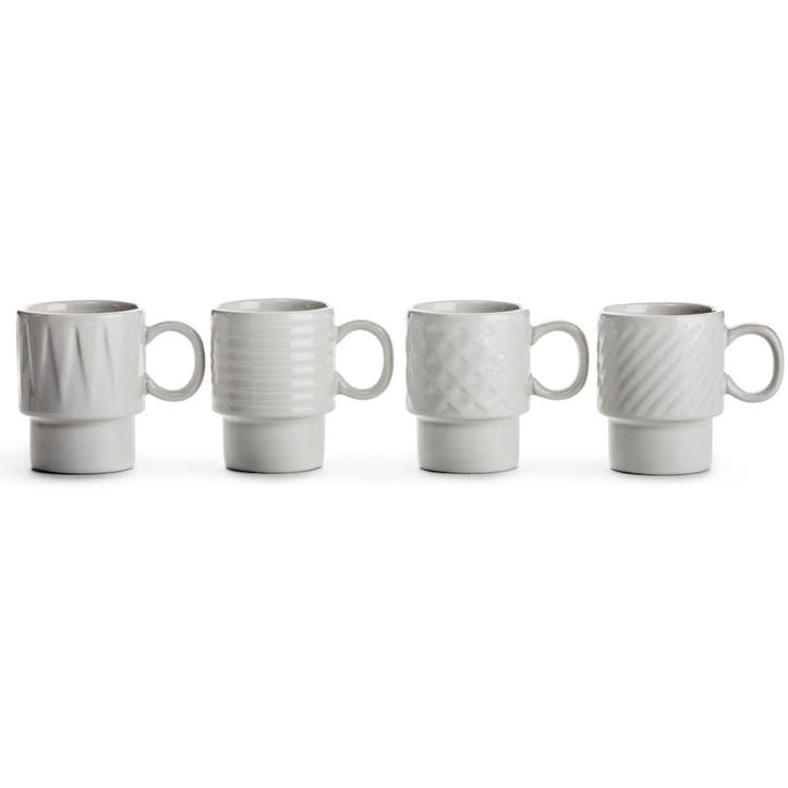 Coffee & More, Espresso Mug, Set of 4, White