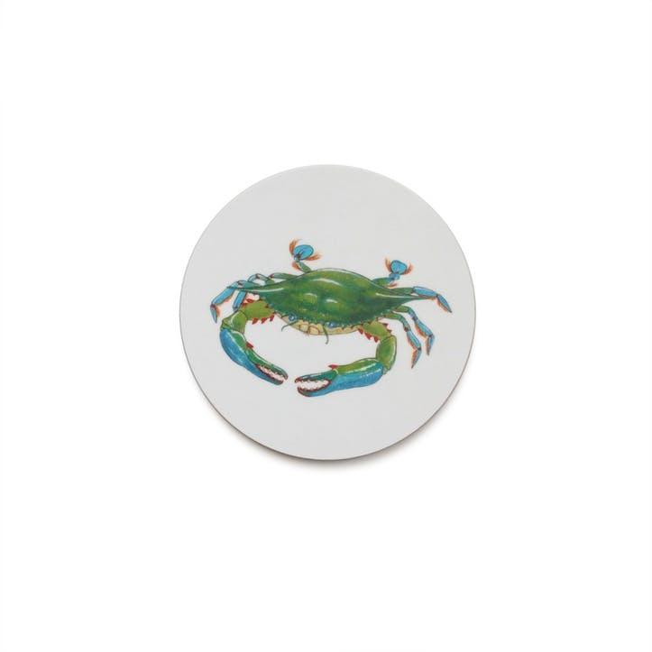 Seaflower Blue Crab Coaster, 10cm, Blue