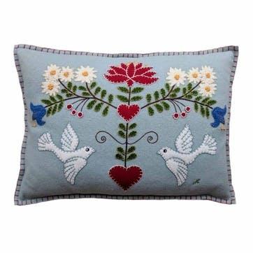 Alpine Doves Cushion, 48 x 35cm, Duck Egg Blue