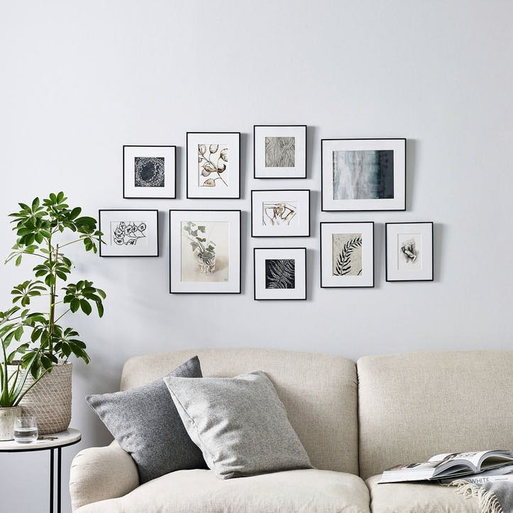 Fine Black Gallery Wall, 10 Frames