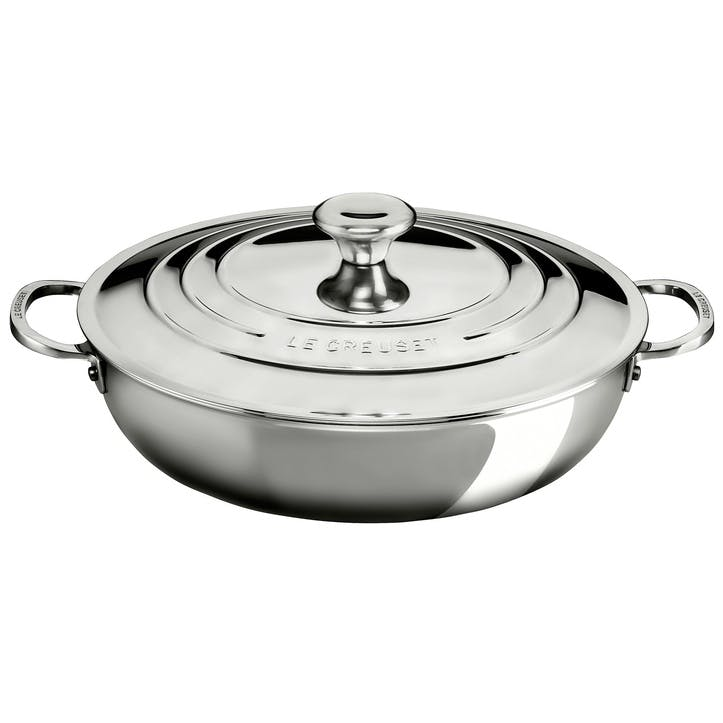 Signature Stainless Steel Shallow Casserole With Lid - 30cm