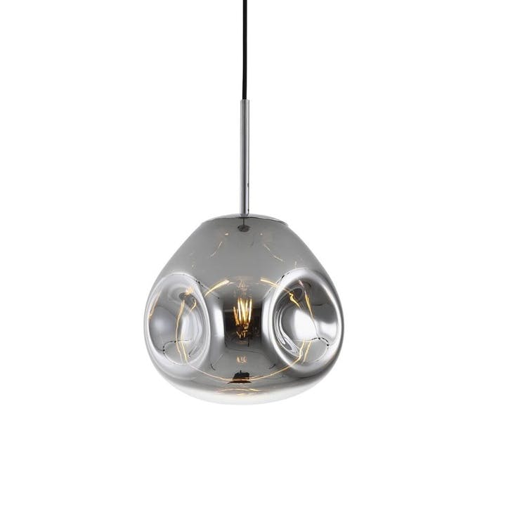 Blown Glass Pendant Lamp, Chrome