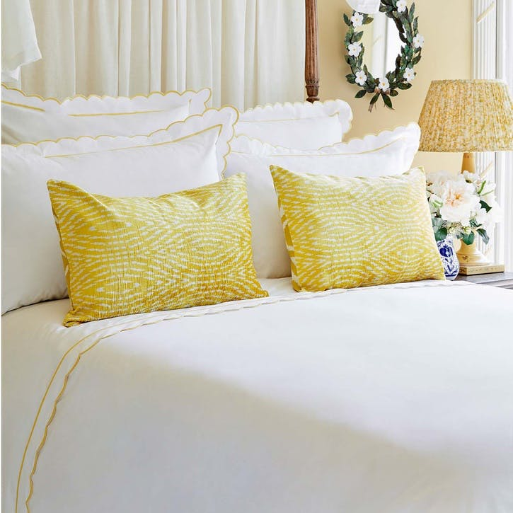 Yellow Scalloped King Size Flat Sheet