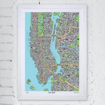 Map Hand Drawn of New York, 84cm x 59cm, Large