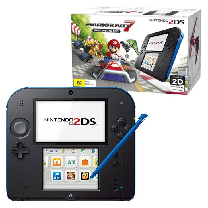 Nintendo 2DS Black + Blue Bundle, w/ Mario Kart 7