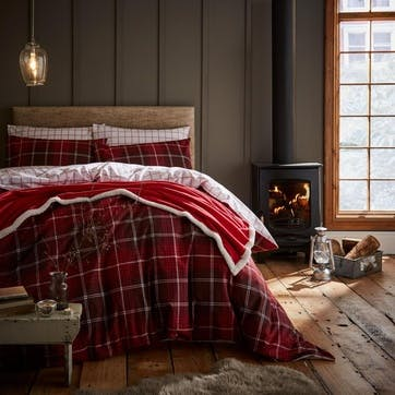 Tartan Check Double Bedding Set, Red