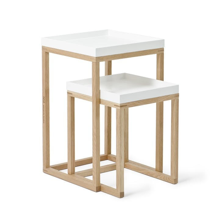 Nest Pair of Tables, White/Oak
