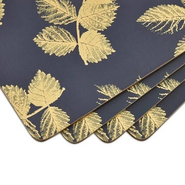 Etched Leaves Large Placemats, Set of 4, Navy/Gold