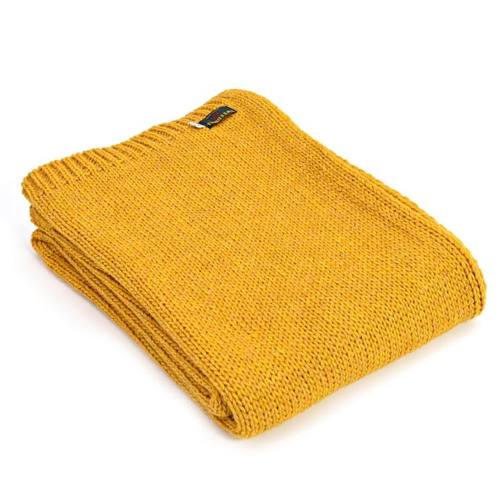 Knitted Alpaca Throw; Mustard