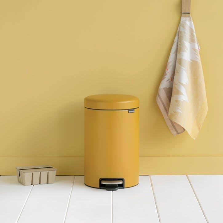 NewIcon Pedal Bin, 12L, Mineral Mustard Yellow