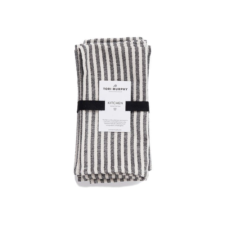 Harbour Stripe Napkin Set of 4, Black & Ecru