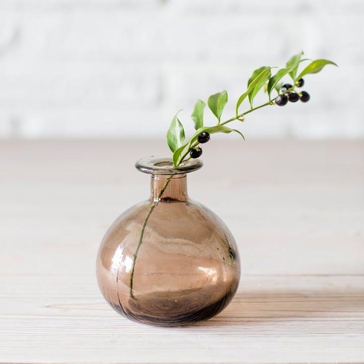 Round Bud Vase, Warm Grey