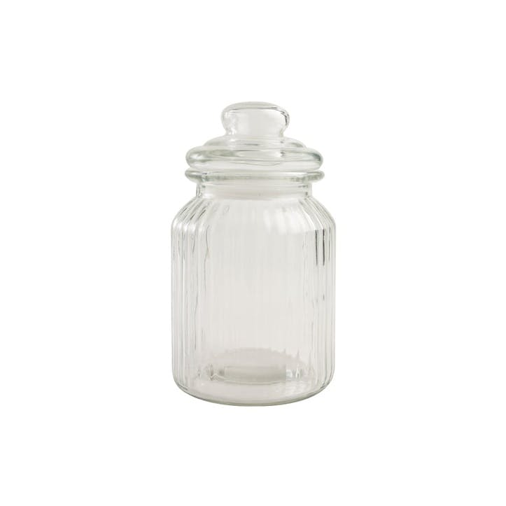 Ribbed Glass Jar, Medium