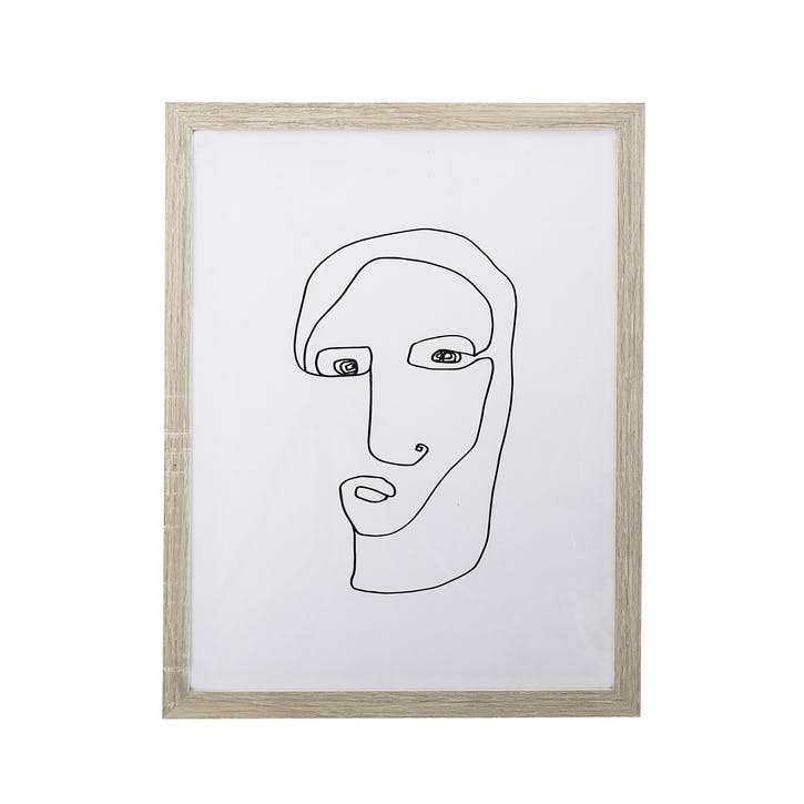 Line Drawing Framed Print, Natural