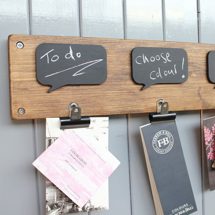 Reclaimed Wood Chalkboard Noticeboard - 54 x 14cm; Natural