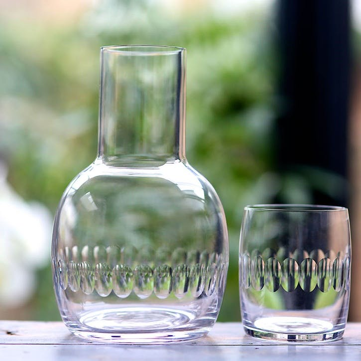 Lens Patterned Crystal Carafe & Glass Set