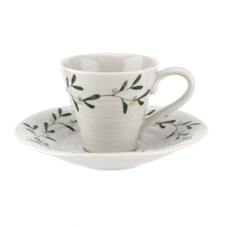 Mistletoe Espresso Cups and Saucers, Set of 2