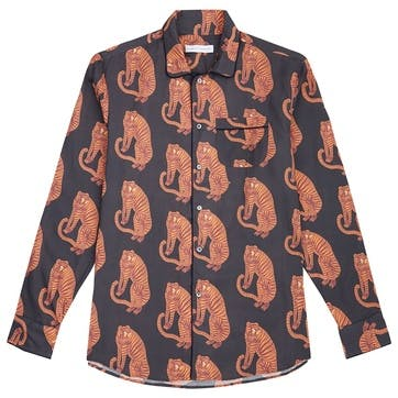 Tiger Collared Pyjama Shirt, Medium