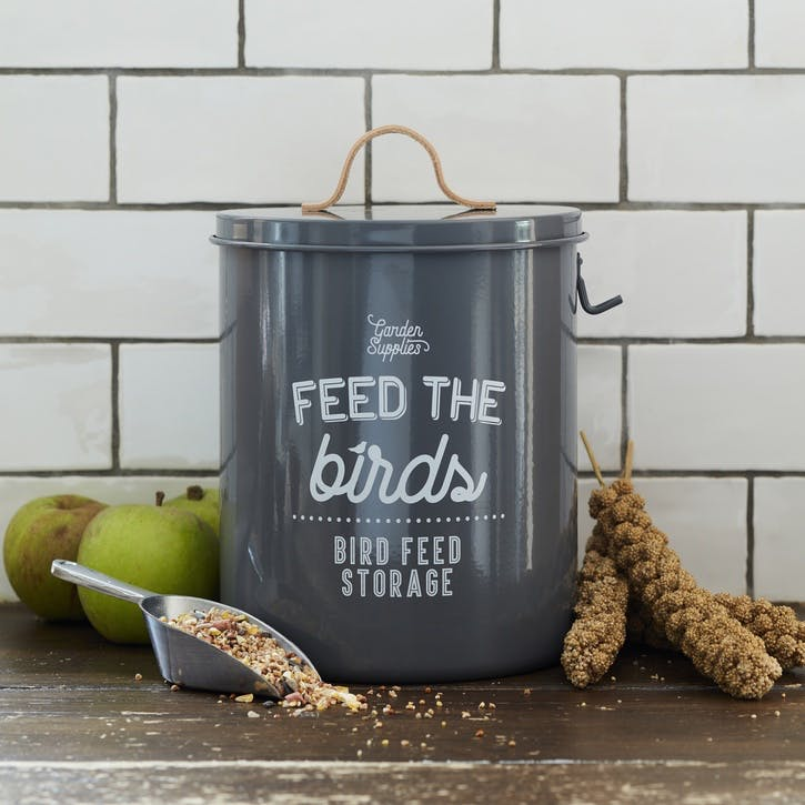 Enamelware Bird Feed Tin, Charcoal