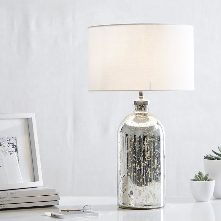 Mercury Small Bottle Table Lamp, Silver