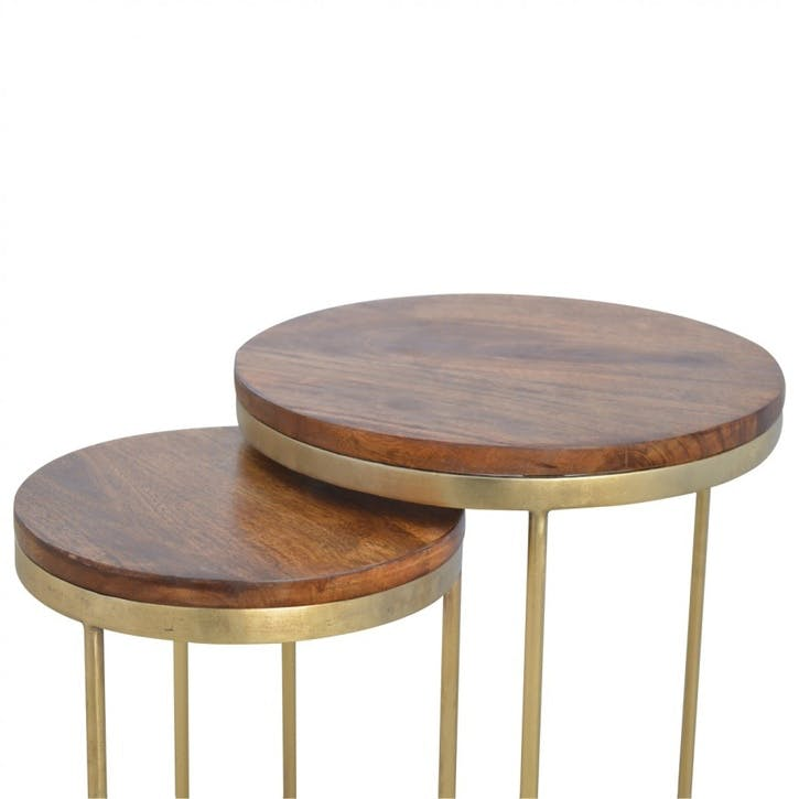 Industrial Gold Nesting Table, Set of 2