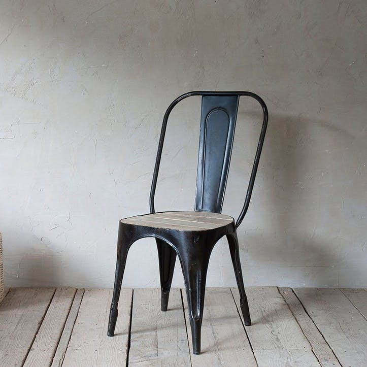 Chari Mango Wood Chair; Distressed Black & Mango Wood