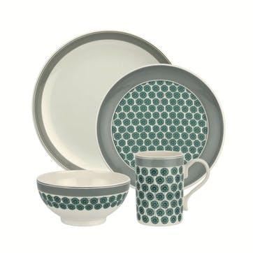Westerly Four Piece Dinnerware Set; Grey Band