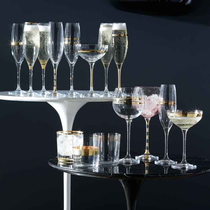 Deco Set of 8 Champagne Flutes, Gold