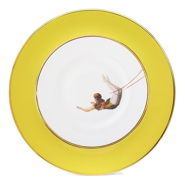 Acts Of Daring Trapeze Girl Dinner Plate, Yellow