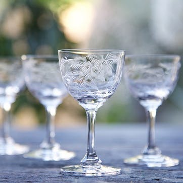 Ferns Crystal Liqueur Glasses, Set Of 6