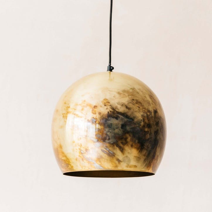 Antiqued Brass Ball Light