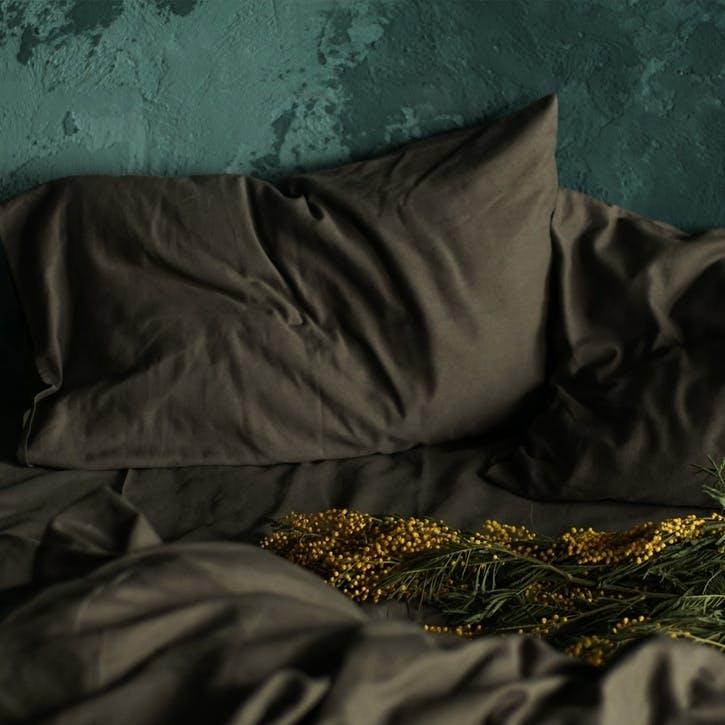 Linen & Bamboo Blend Pillowcase Set, Olive Grey