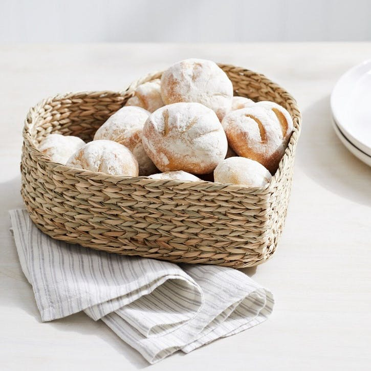 Seagrass Heart Shaped Bread Basket