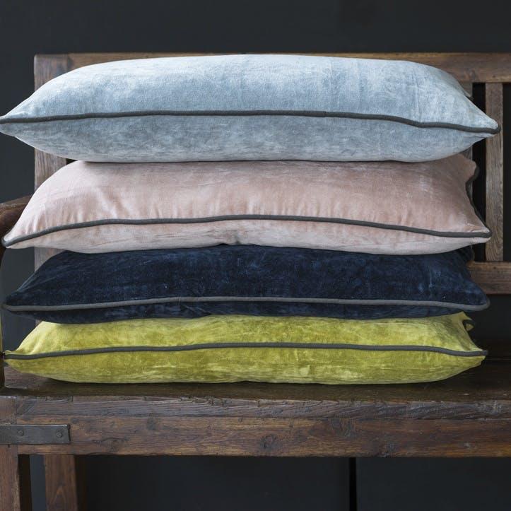 Velvet Breakfast Cushion, Blue Grey