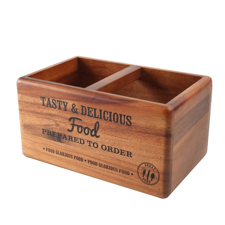 'Food Glorious Food' Acacia Table Tidy With Graphics & Chalk Board, Medium