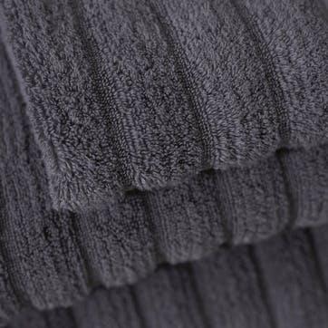 Hydrocotton Ribbed Towel, Face Cloth, Slate