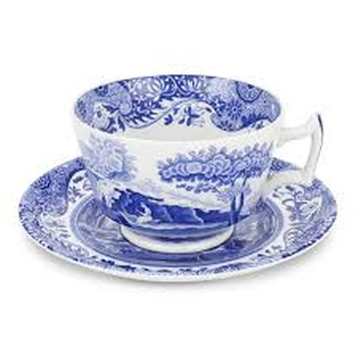 Blue Italian Breakfast Cups & Saucers, Set of 4
