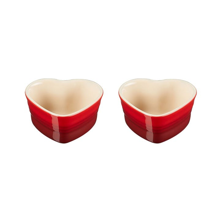 Set of 2 Heart Ramekins, Cerise