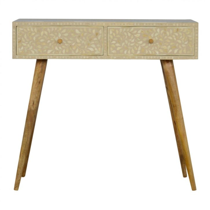 Floral Bone Inlay Console Table