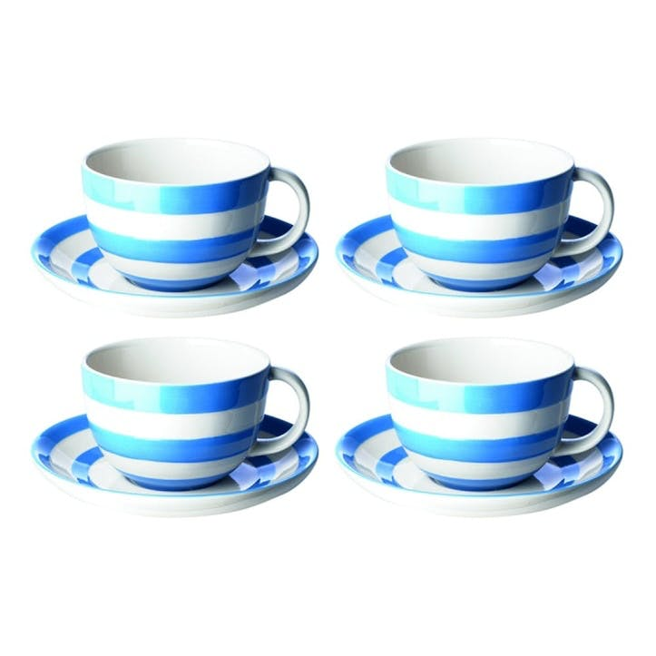 Cornish Blue Breakfast Cups & Saucers, Set of 4