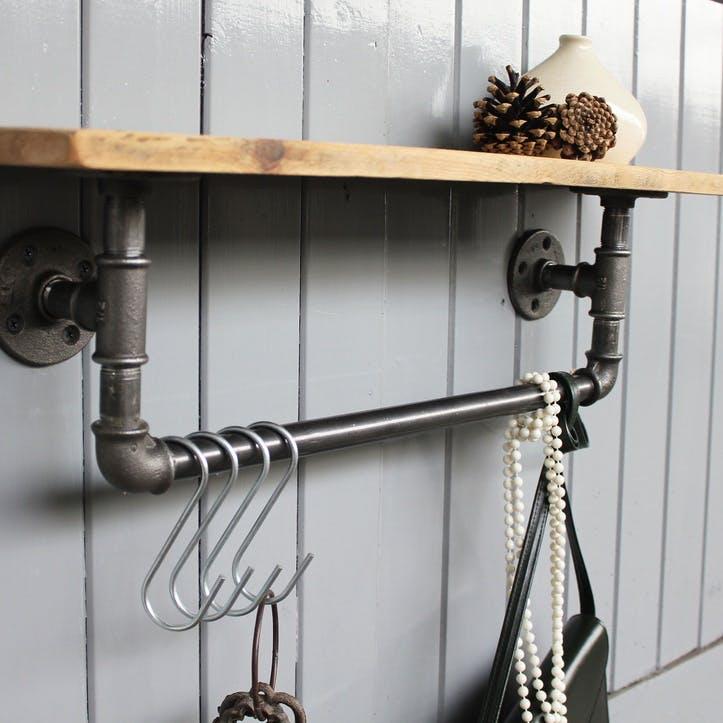 Industrial Steel Pipe Storage Shelf - 65 x 15cm; Natural